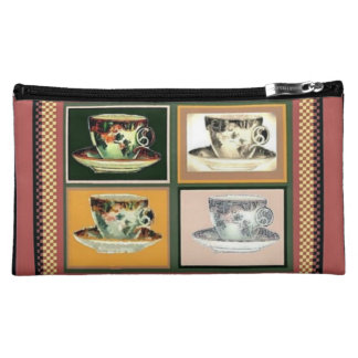 Vintage Tea Cup Altered Art Collage Cosmetic Bags
