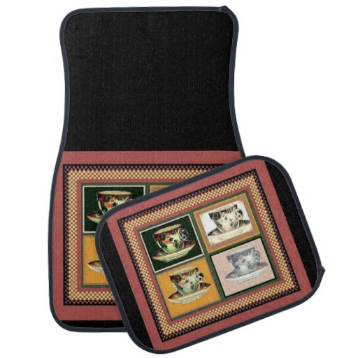Vintage Tea Cup Altered Art Collage Car Floor Mat Zazzle