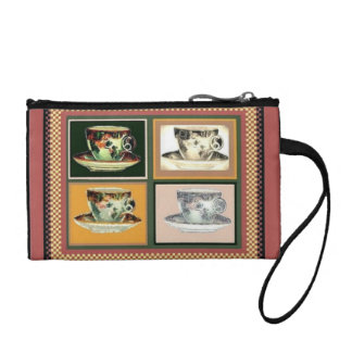 Vintage Tea Cup Altered Art Collage Coin Purse