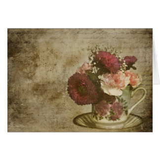 VINTAGE TEA CUP AND FLOWERS CARD