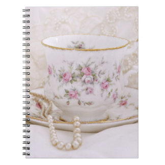 Vintage Tea Cup and Pearls Notebook