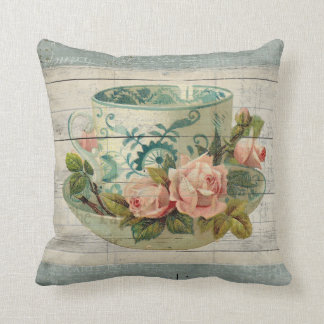Vintage Tea Cup with Roses Shabby Chic Pillow