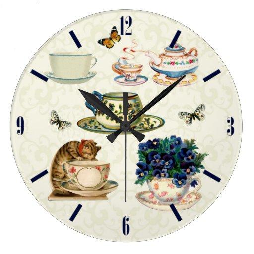 Vintage Tea cups & tea pot Butterflies Wall Clock