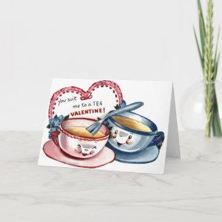 Vintage Tea Cups Valentine's Day Card