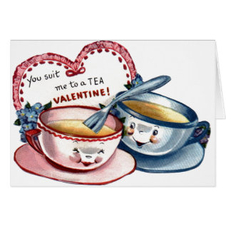 Vintage Tea Cups Valentine's Day Card at Zazzle