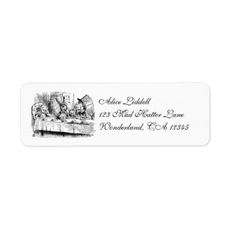 Vintage Tea Party; Alice, Hatter and March Hare Return Address Label