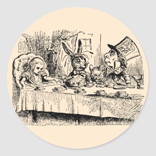 Vintage Tea Party; Alice, Hatter and March Hare Round Sticker
