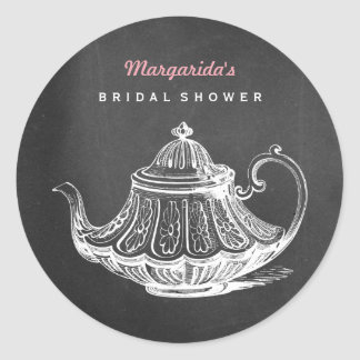Vintage Tea Party Bridal Shower Chalkboard Teapot Classic Round Sticker