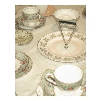 Vintage tea party, china tea set shabby chic letterhead