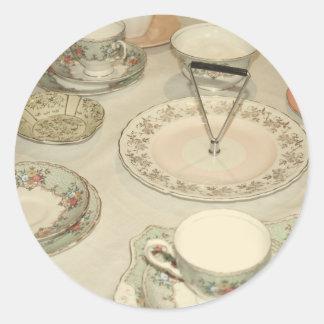Vintage tea party, china tea set shabby chic round sticker