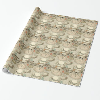 Vintage tea party, china tea set shabby chic wrapping paper