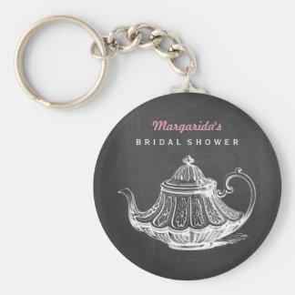 Vintage Tea Party Favors Black White Bridal Shower Basic Round Button Keychain