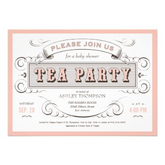 Vintage Tea Party Invitations