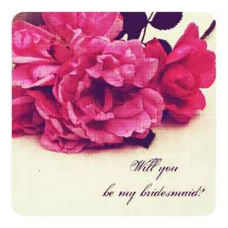 vintage tea roses  - will you be my bridesmaid card