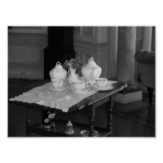 Vintage Tea Set Black And White Photograph Poster