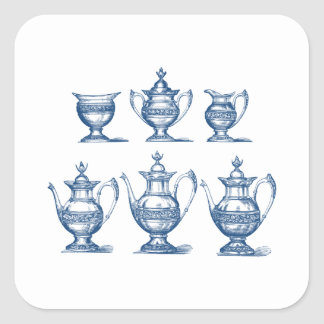 Vintage Tea Set Blue White Coffee Pot Decorative Square Sticker