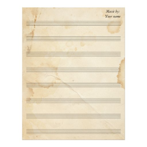 Vintage Tea Stained Sheet Music 8 Stave Letterhead