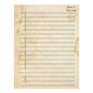 Vintage Tea Stained Sheet Music Brass Band Letterhead