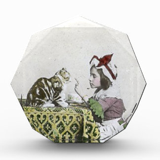 Vintage Tea Time Party With Naughty Kitty Acrylic Award