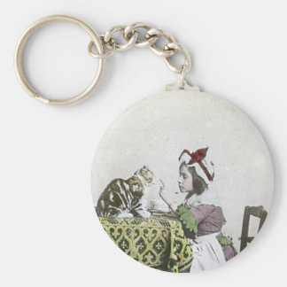 Vintage Tea Time Party With Naughty Kitty Basic Round Button Keychain