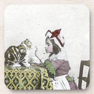 Vintage Tea Time Party With Naughty Kitty Beverage Coaster