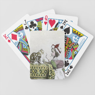 Vintage Tea Time Party With Naughty Kitty Bicycle Playing Cards
