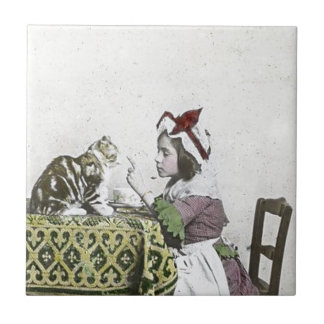 Vintage Tea Time Party With Naughty Kitty Ceramic Tile