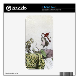 Vintage Tea Time Party With Naughty Kitty Decal For iPhone 4