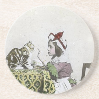 Vintage Tea Time Party With Naughty Kitty Drink Coaster