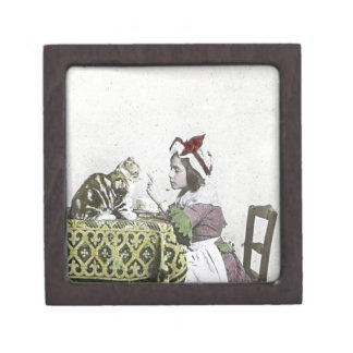 Vintage Tea Time Party With Naughty Kitty Jewelry Box