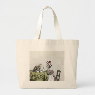 Vintage Tea Time Party With Naughty Kitty Large Tote Bag