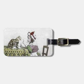 Vintage Tea Time Party With Naughty Kitty Luggage Tag