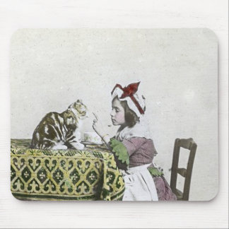 Vintage Tea Time Party With Naughty Kitty Mouse Pad