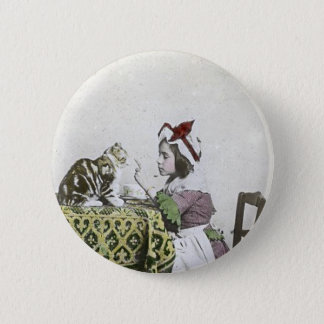 Vintage Tea Time Party With Naughty Kitty Pinback Button