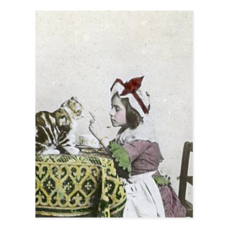 Vintage Tea Time Party With Naughty Kitty Postcard