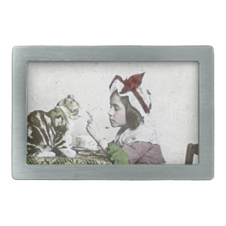 Vintage Tea Time Party With Naughty Kitty Rectangular Belt Buckle