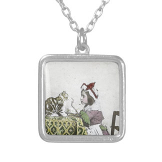 Vintage Tea Time Party With Naughty Kitty Square Pendant Necklace
