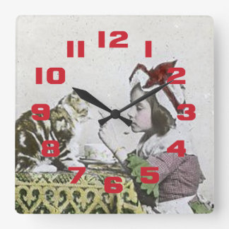 Vintage Tea Time Party With Naughty Kitty Square Wall Clock