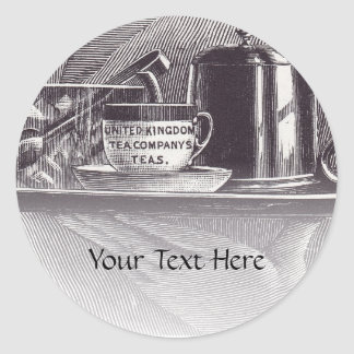 Vintage Tea Tray Classic Round Sticker