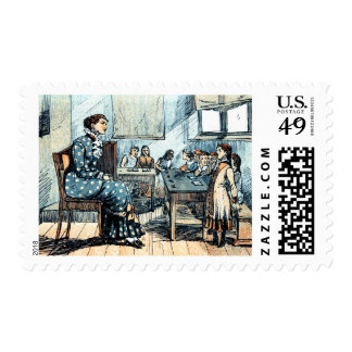 Vintage Teacher and Students  Postage Stamps