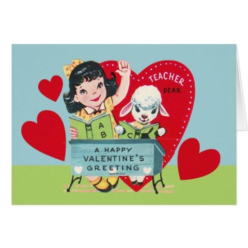 Vintage Teacher Valentine Greeting Cards