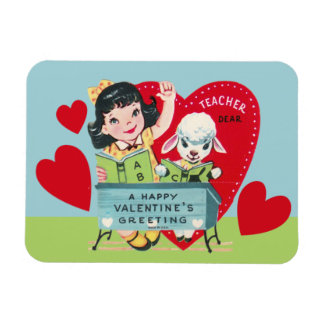 Vintage Teacher Valentine Rectangular Photo Magnet