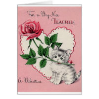 Vintage Teacher Valentine's Day Card