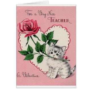Vintage Teacher Valentine's Day Card