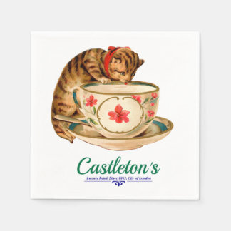 Vintage teacup and kitten poster for London store Disposable Napkin
