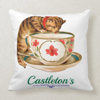 Vintage teacup and kitten poster for London store Pillow