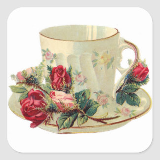 Vintage Teacup and Roses Sticker Square Stickers