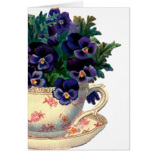 Vintage Teacup Purple Pansies-Cards Card