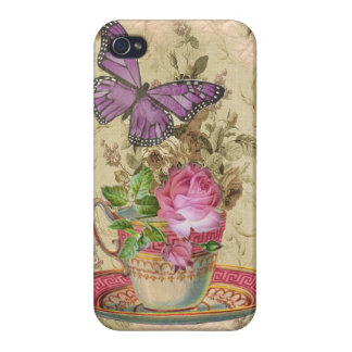Vintage Teacup Rose & Purple Butterfly Cover For iPhone 4