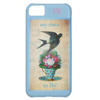 Vintage Teacup Roses and Flying Swallow Bird Cover For iPhone 5C